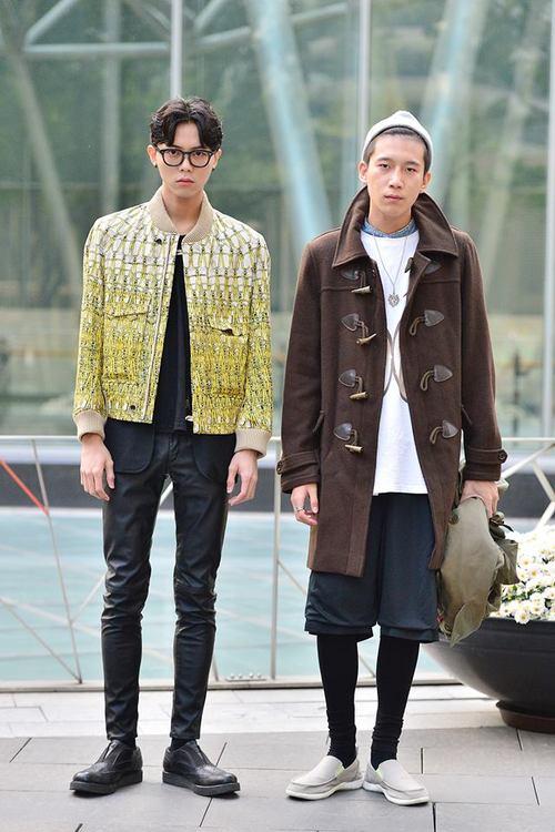 Streetstyle Joo Woojae and Kevin Kim shot by Baek Seungwon at Seoul Fashion Week SS 2014