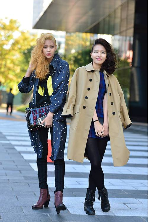 Streetstyle Jung Hoyeon and Park Sin Ae shot by Baek Seungwon at Seoul Fashion Week SS 2014