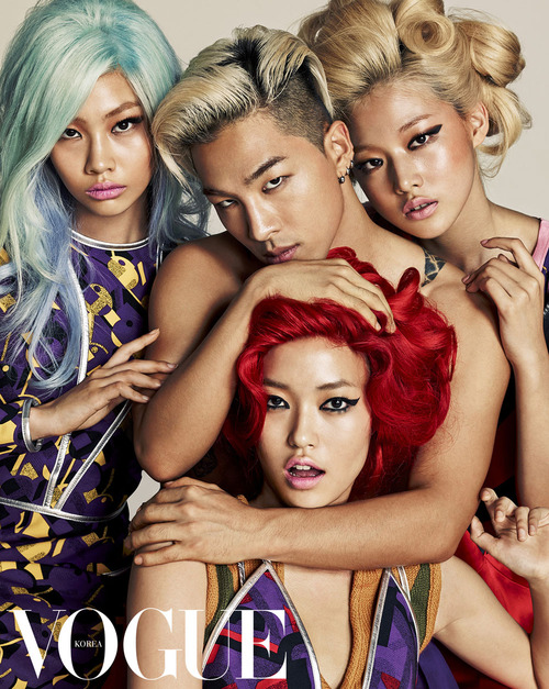 Bigbang's Taeyang, Yeo Hyewon, Jung Hoyeon, Seon Hwang and Choi Ara for Vogue Korea July 2014 by Hong Jang Hyun